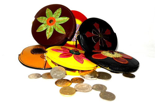 Coin Purse - Round decorated leather with zip group photo showing coins