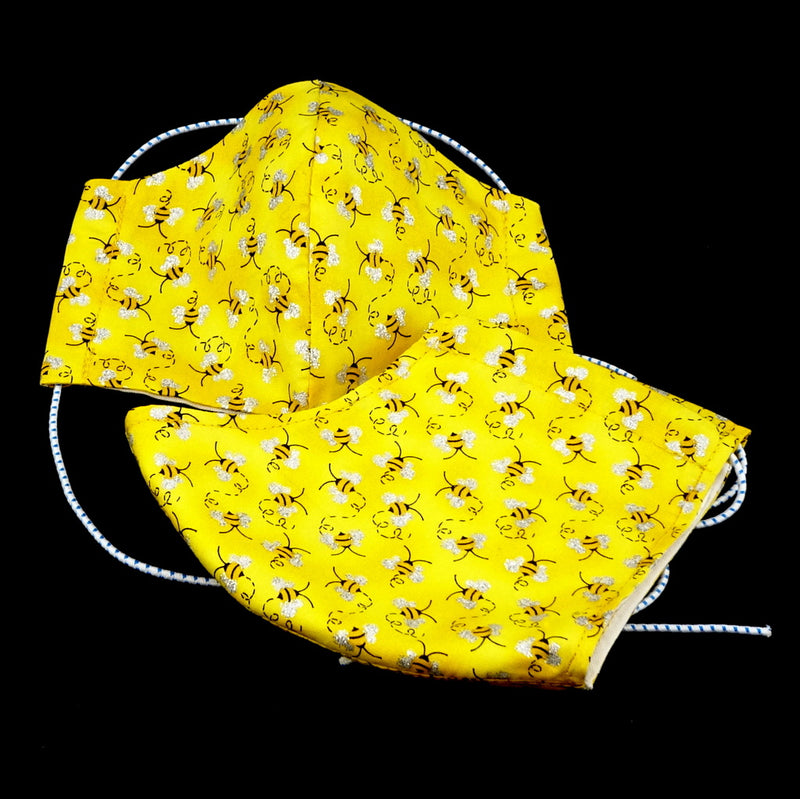 Face Mask - Washable cotton cloth basic model Yellow bees print