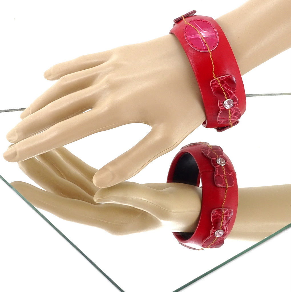 Kim   Bangle round large leather jewellery red leather