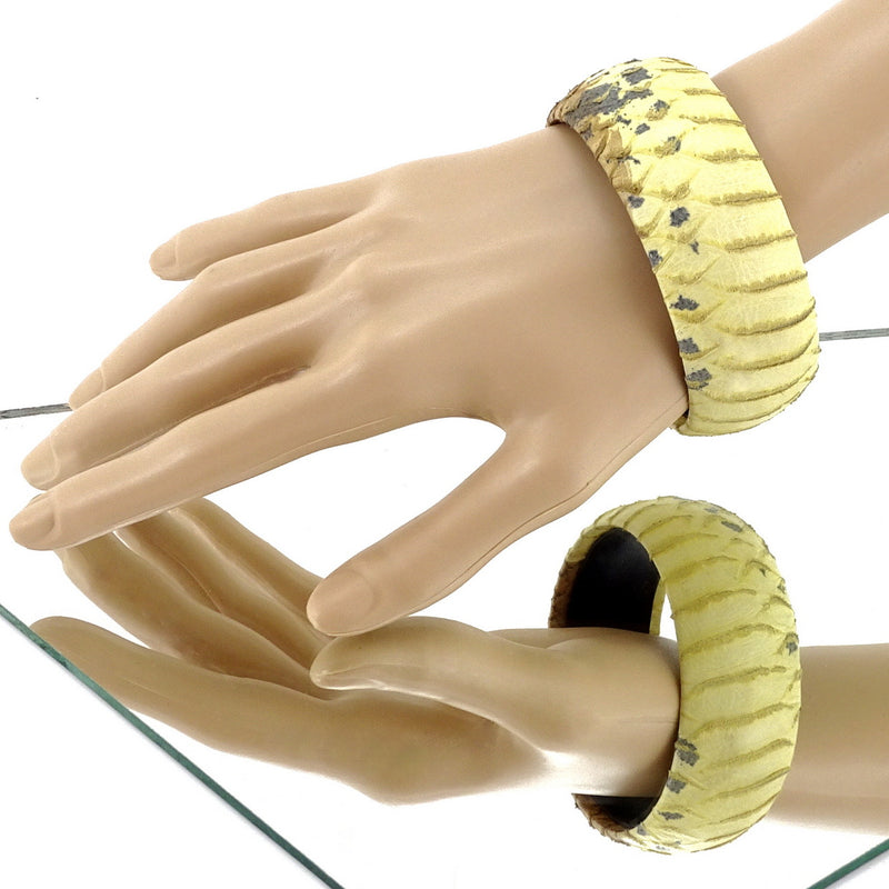 Kim   Bangle round large leather jewellery yellow snake printed leather