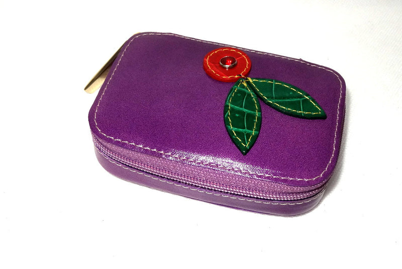 Zip purse large leather with flower