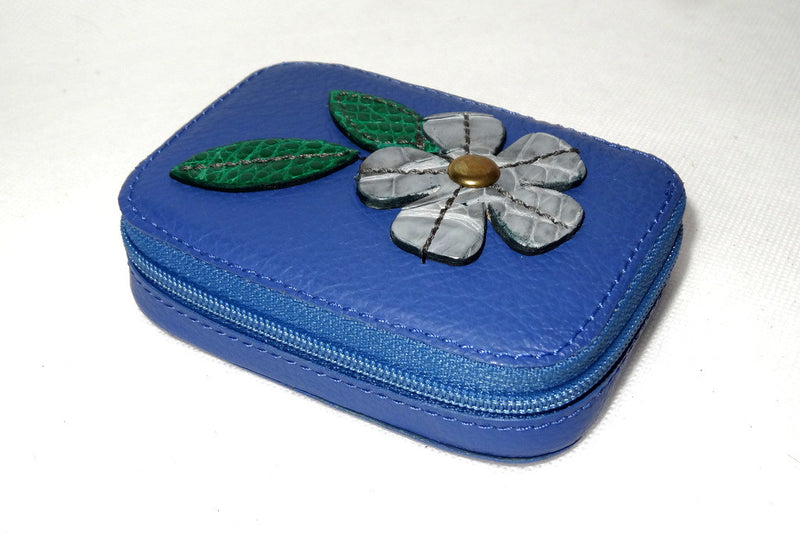 Zip purse large leather with leather flower detail