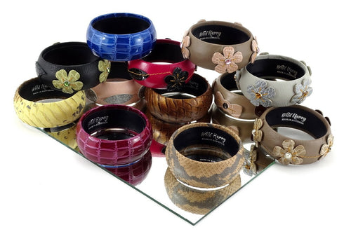 Kim   Bangle round medium leather jewellery showing a range of bangles on mirror