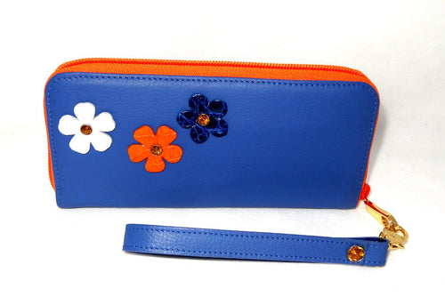 Michaela  Blue leather with flower and crystal detail side 1