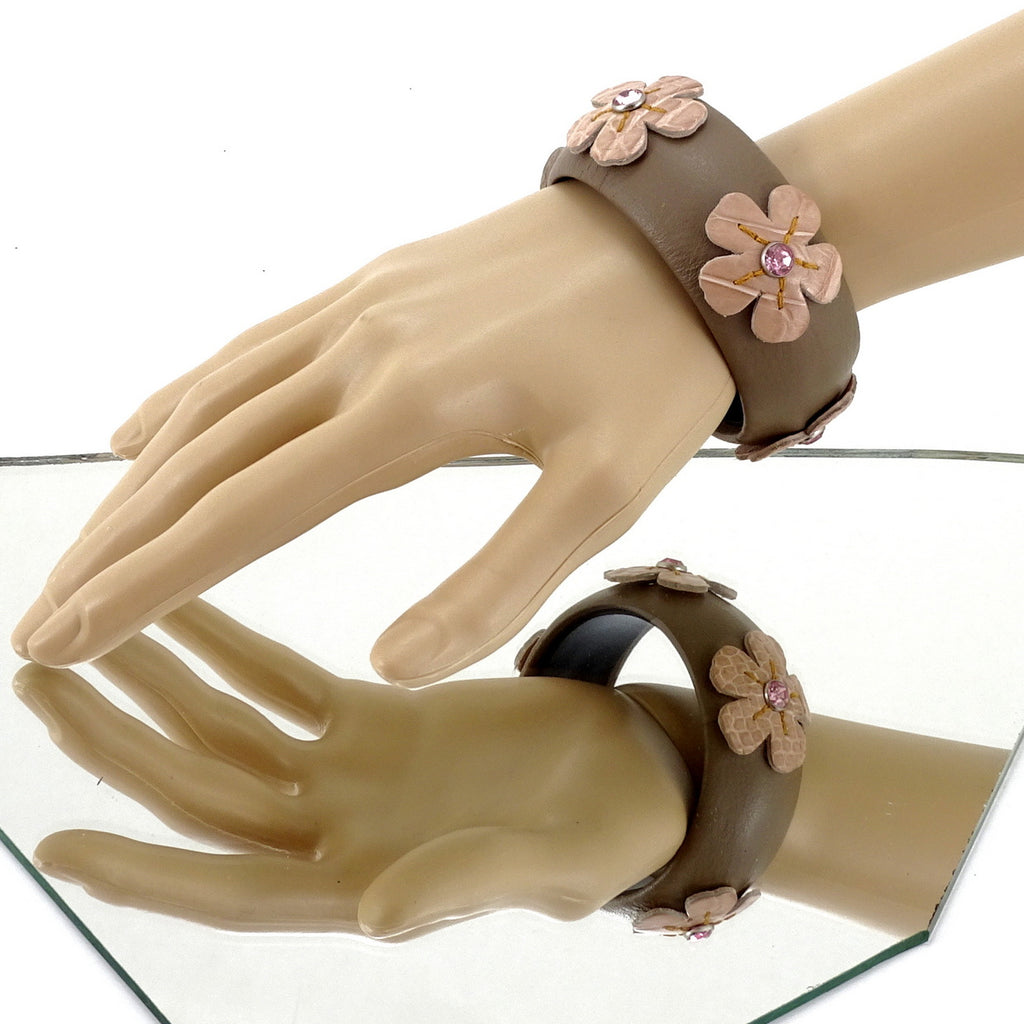 Kim   Bangle round medium leather jewellery silk with pink flowers