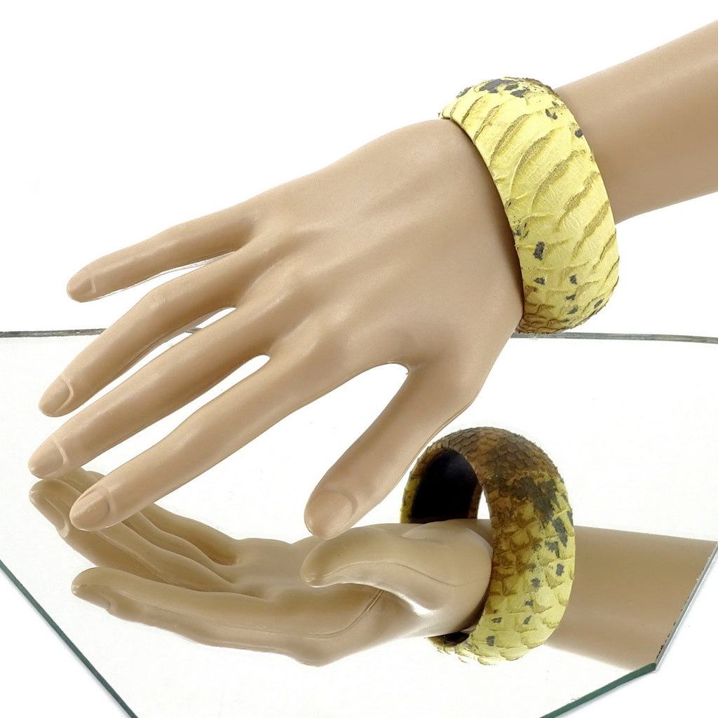 Kim   Bangle round medium leather jewellery yellow and brown snake print