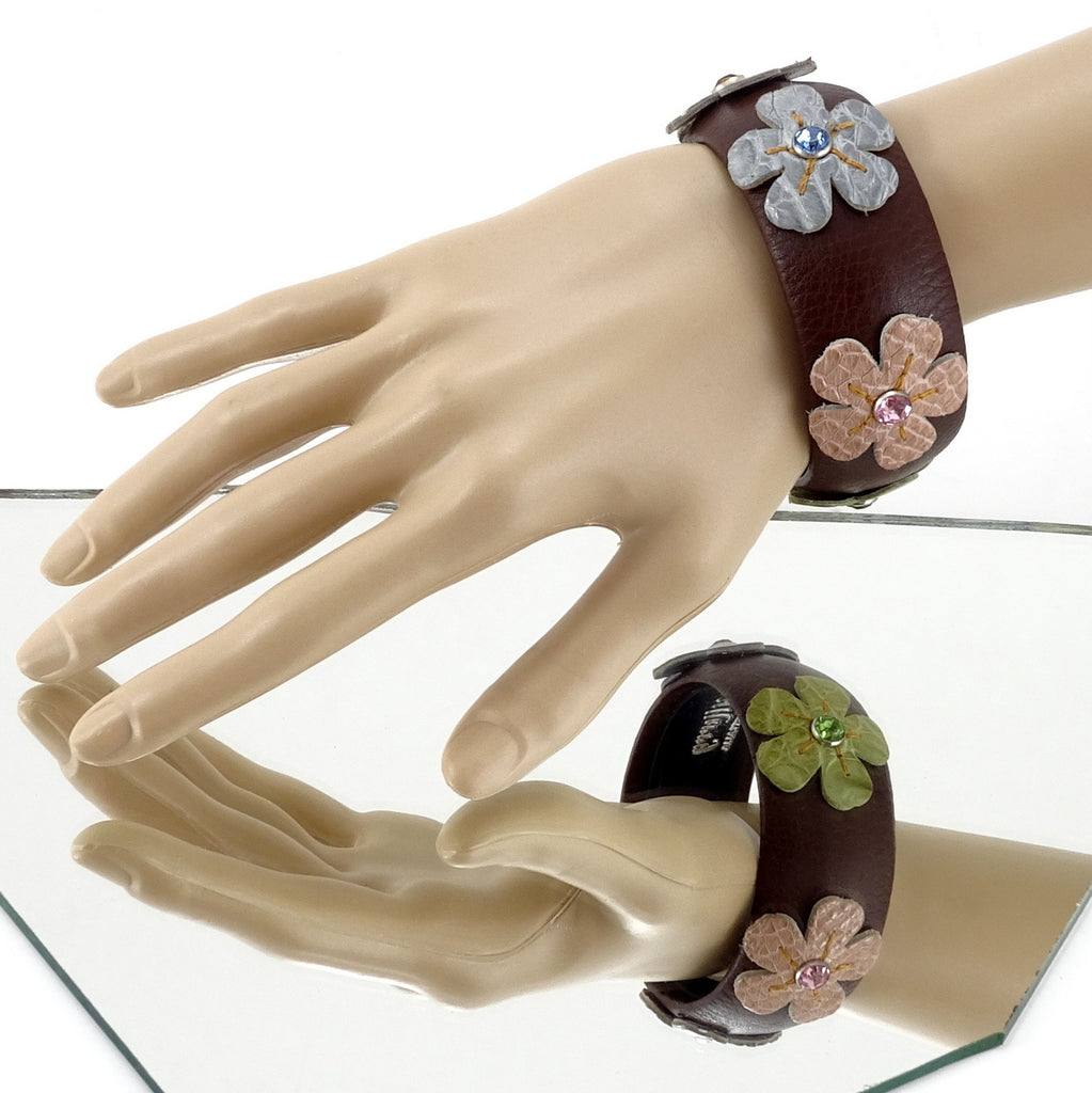 Kim   Bangle round medium leather jewellery brown mixed flower colours