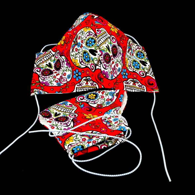 Face Mask - Washable cotton cloth 3 fabric layer model reusable red skulls