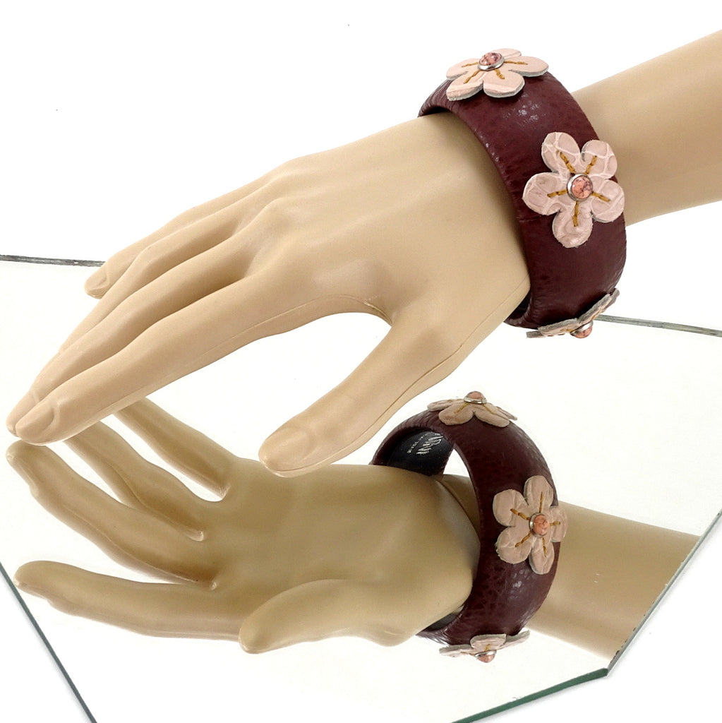 Kim   Bangle round medium leather jewellery brown pink flowers