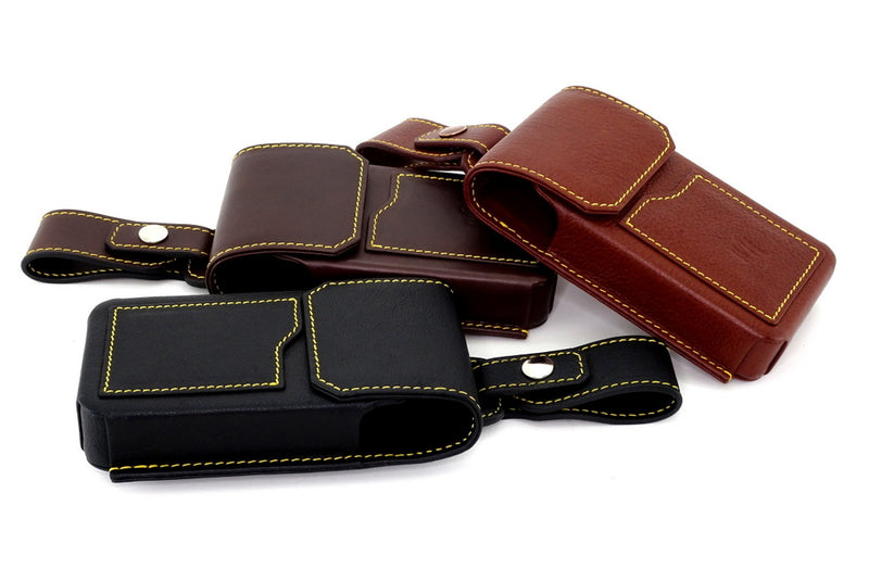 Holster style phone cases large gold stitching