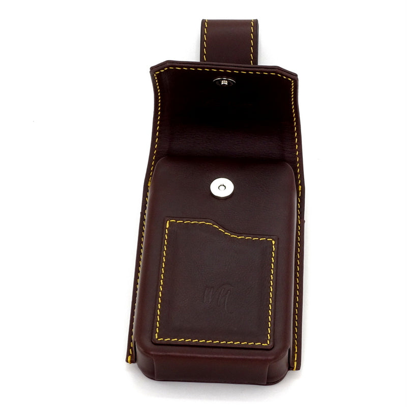 Holster style phone case showing magnetic closure as well as front card holder