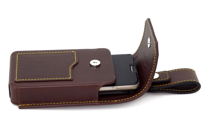 Holster style phone case with phone in place and lid open