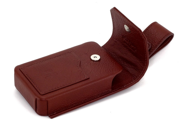 Holster phone case with lid open showing magnetic closure