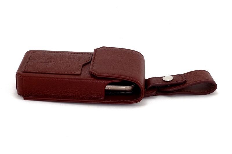 Holster phone case showing phone inside with lid closed