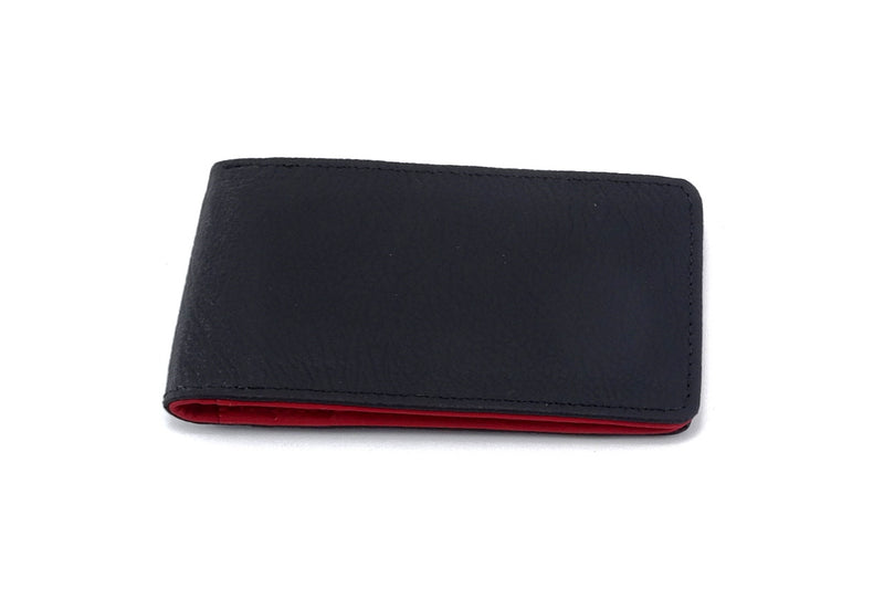 Charcoal leather bill fold wallet front outside view