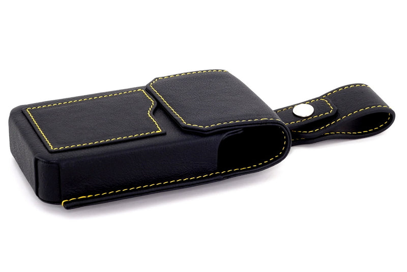 Black holster style phone case gold stitching