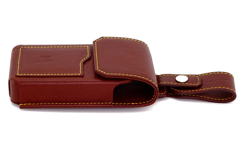 Ox bloos holster style phone case with gold stitching