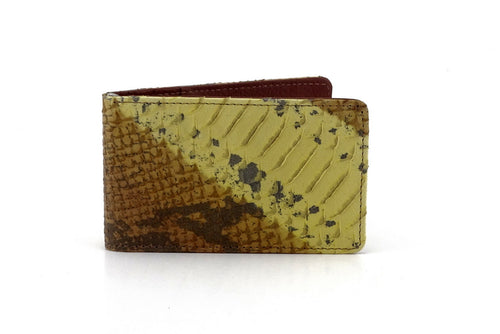 Bill fold wallet front outside view tan & yellow snake print leather