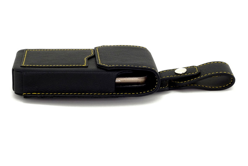 Holster style phone case with lid closed and phone in place