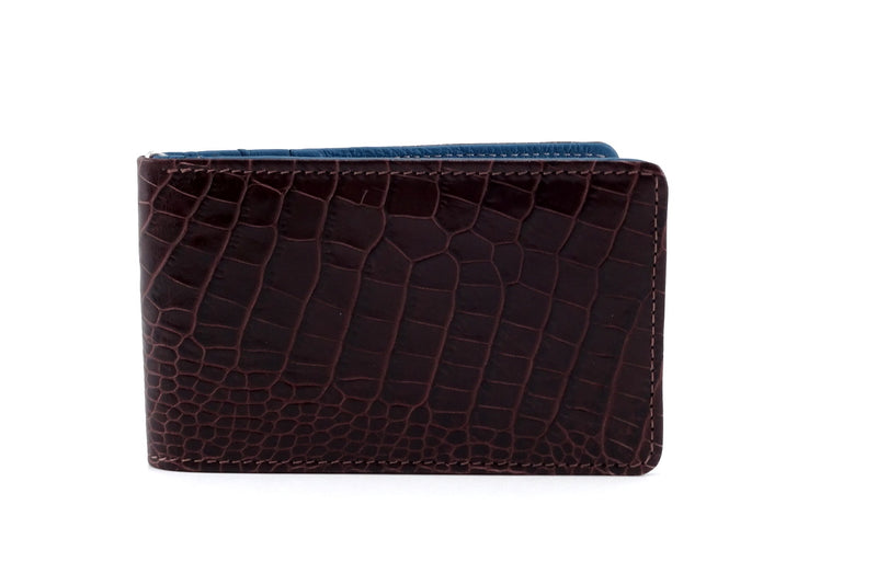 Bill fold burgundy brown croc printed leather outside front view