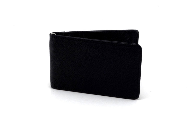 Bill fold wallet outside view black leather