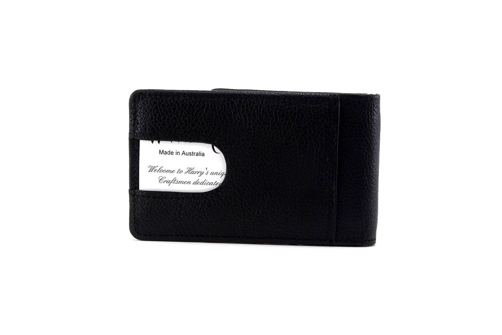 Billfold wallet back pocket outside view black leather card in place