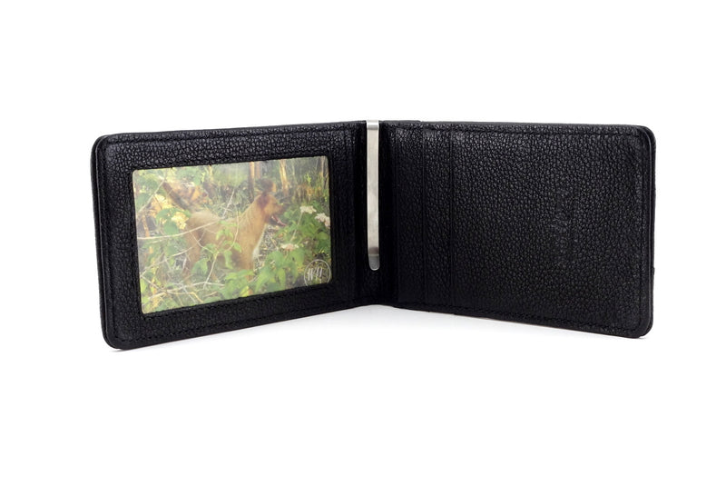 Billfold wallet inside view black leather picture window credit card pockets and money clip
