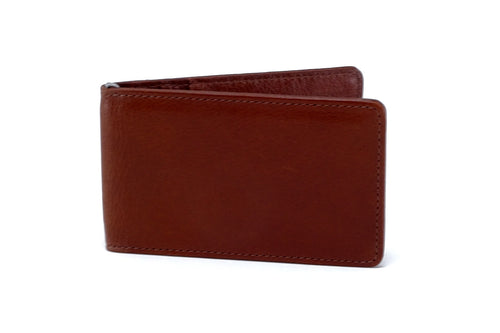 Rusty tan leather bill fold wallet front outside view