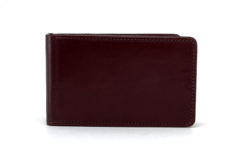 Tan leather bill fold wallet front outside view