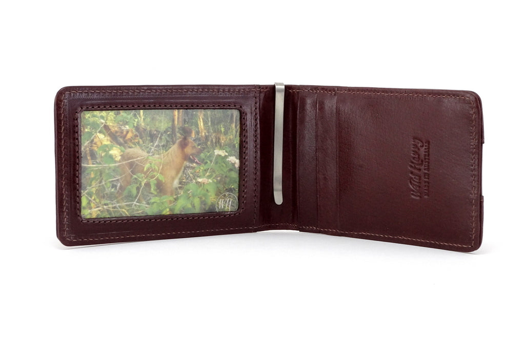 Tan leather bill fold wallet inside view picture window 3 credit card pockets and money clip