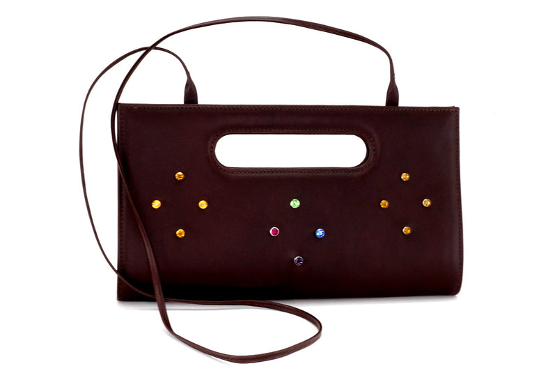 Susan large clutch evening bag brown with coloured crystals front view showing shoulder strap attached