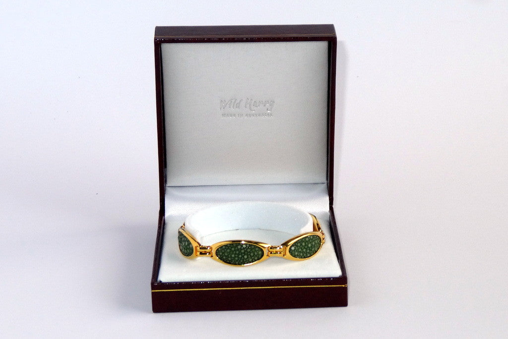 Gold plated Bree bracelet shown in box