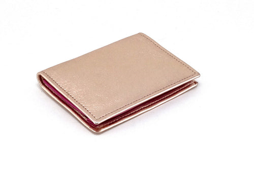 Business card wallet metallic pink sheep skin leather box gusset outside view