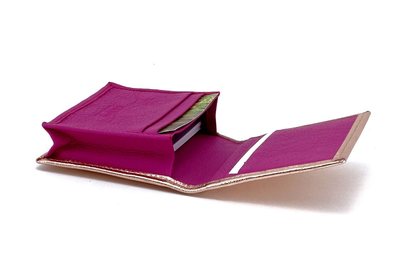 Business card wallet metallic pink sheep skin leather box gusset inside view showing in use