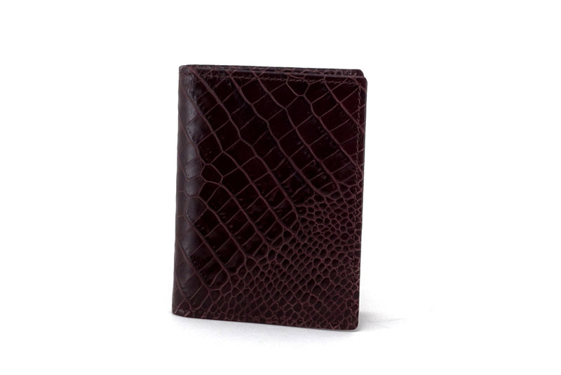 Business card wallet brown crocodile printed leather box gusset outside view