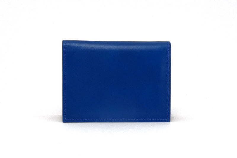 Business card wallet Blue leather side gusset outside view