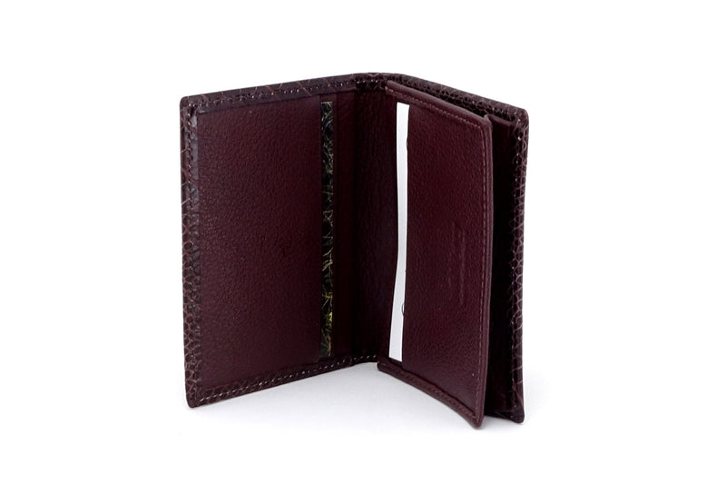 Business card wallet brown crocodile printed leather box gusset inside view