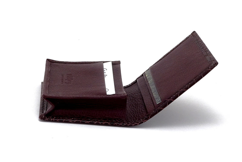 Business card wallet brown crocodile printed leather box gusset inside view showing in use