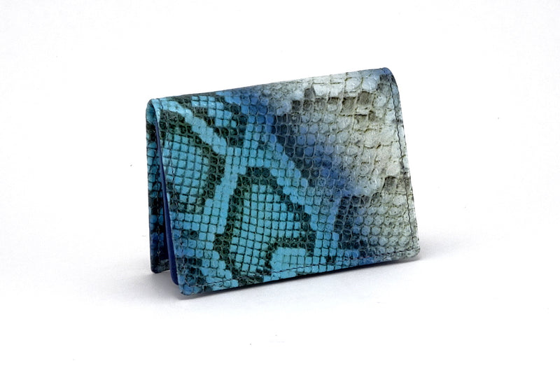 Business card wallet blue snake printed leather box gusset outside view