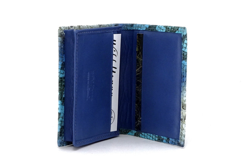 Business card wallet blue snake printed leather box gusset inside view