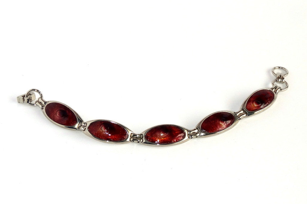 Nickel plated bracelet in burgundy foil ostrich printed leather
