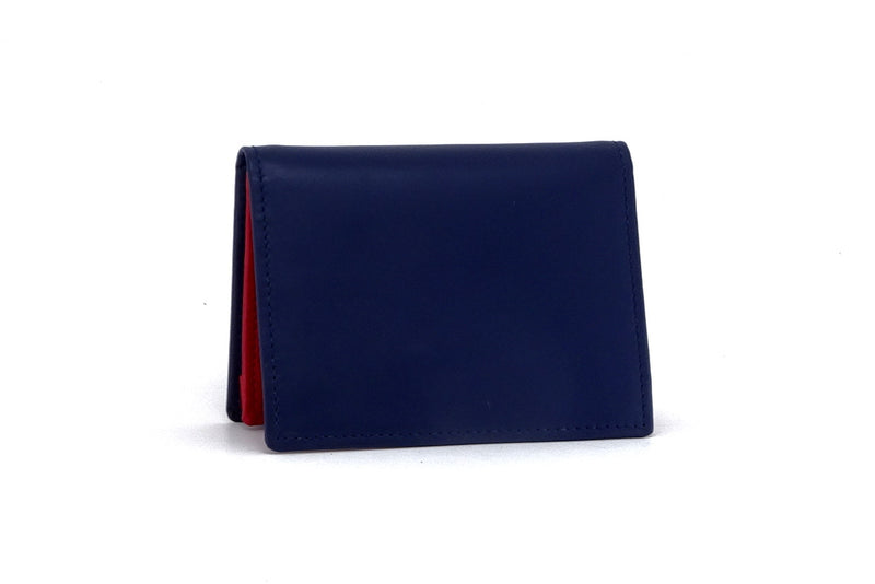Business card wallet blue kangaroo skin box gusset outside view