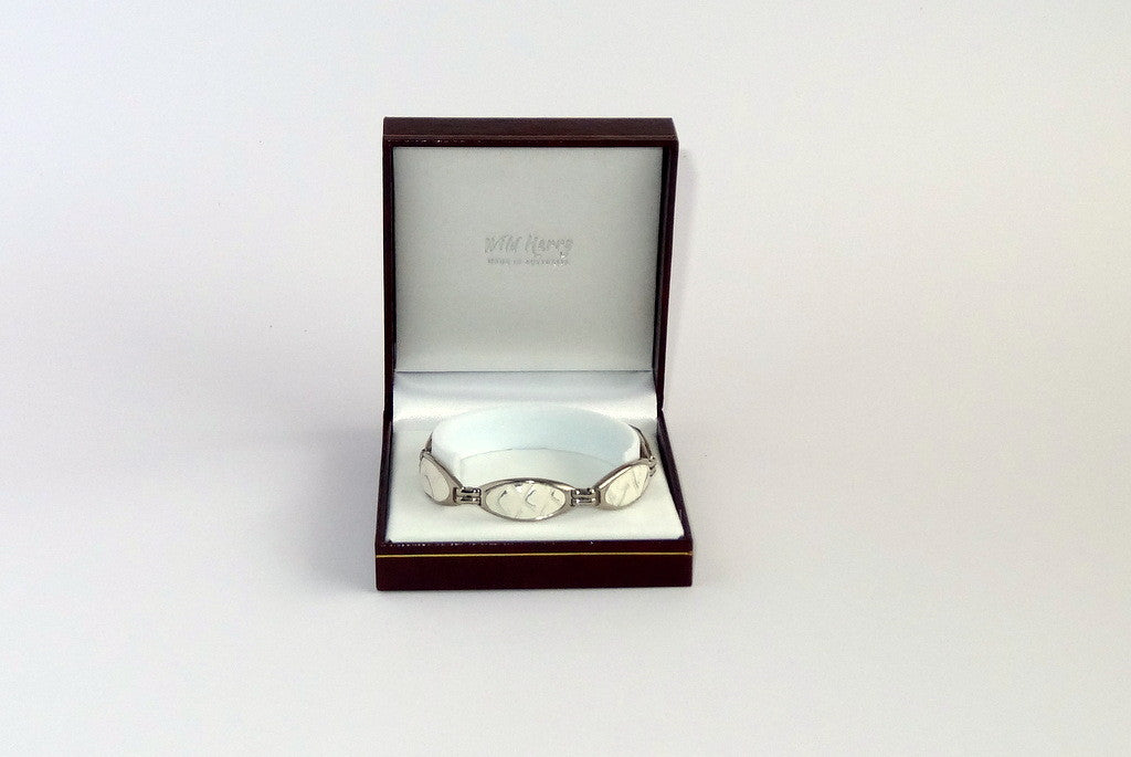 Nickel plated Bree bracelet shown in box