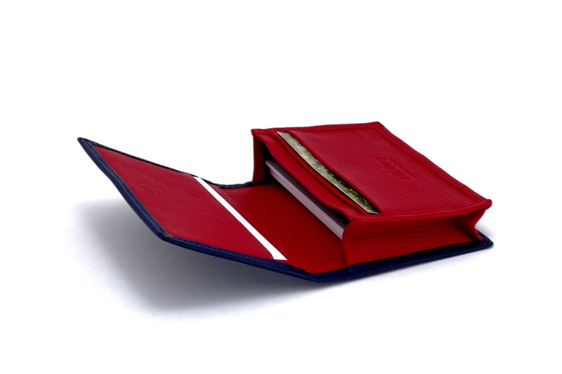 Business card wallet blue kangaroo skin box gusset inside view in use