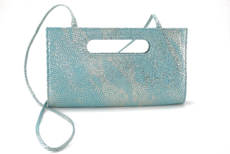 Susan mermaid blue evening clutch bag shoulder straps attached front view