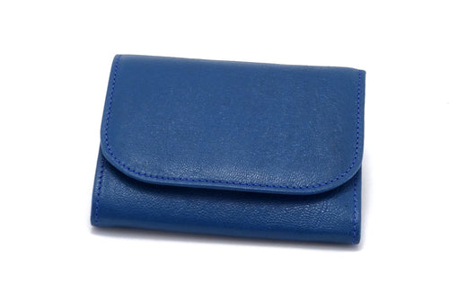 Dorothy  Trifold purse - Blue goat skin leather ladies wallet front view