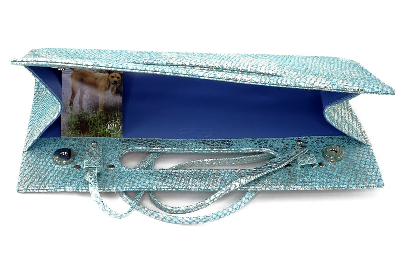 Susan mermaid blue evening clutch bag shoulder straps attached inside view showing strap removal method