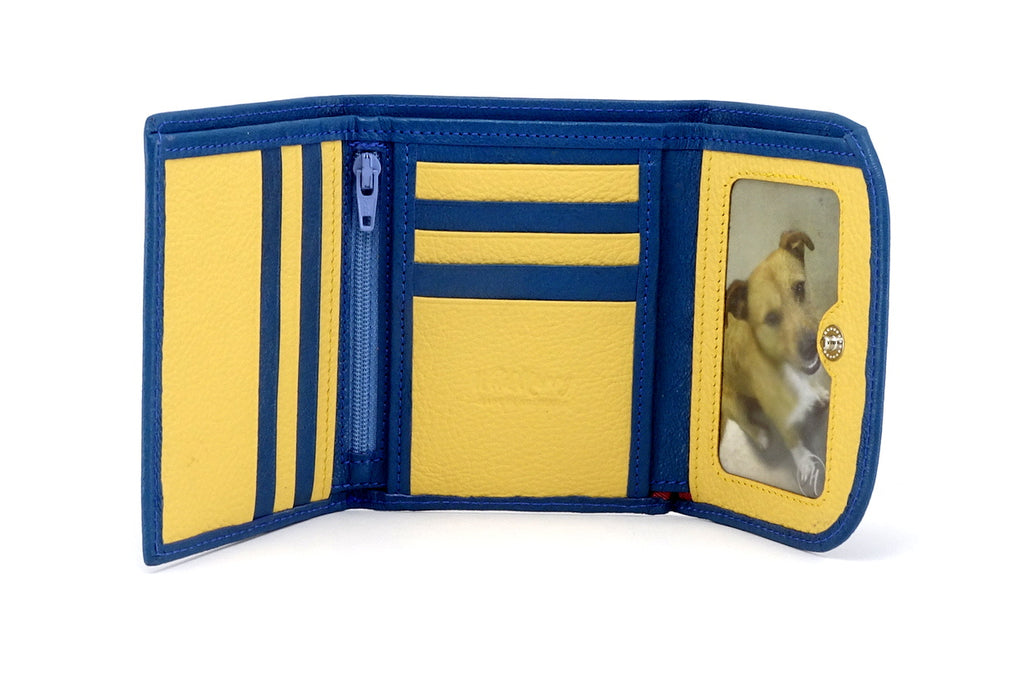 Dorothy  Trifold purse - Blue goat skin leather ladies wallet inside view