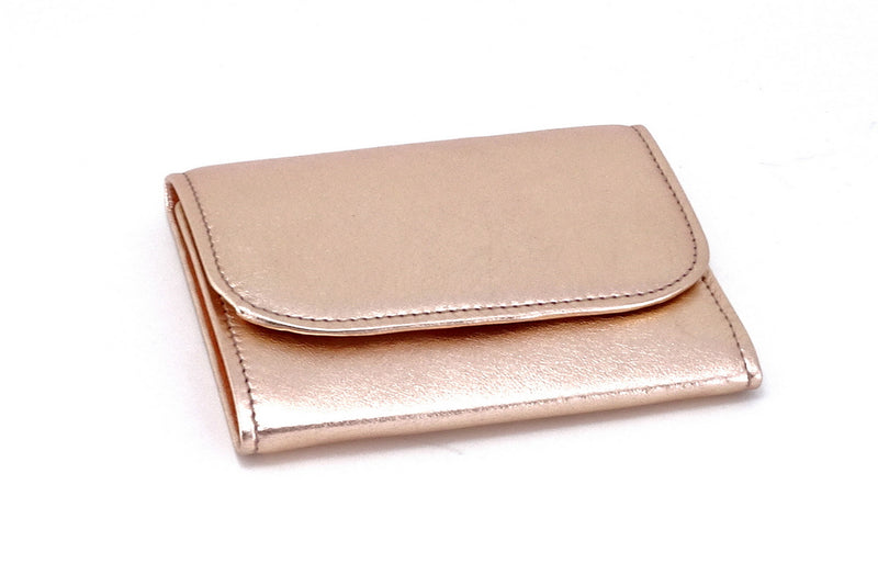Dorothy  Trifold purse - Pink metallic sheep skin leather ladies wallet front view