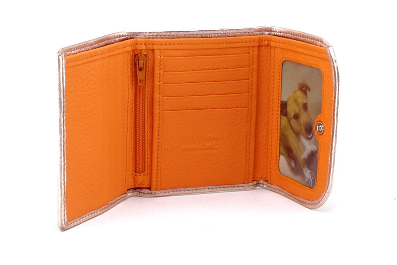 Dorothy  Trifold purse - Pink metallic sheep skin leather ladies wallet inside picture window